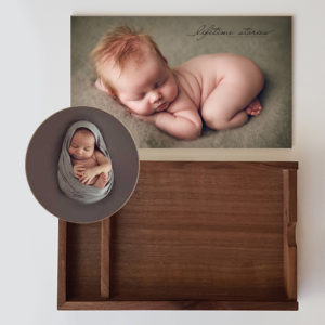 A newborn print wood box with an usb insert and a wood wall art circle