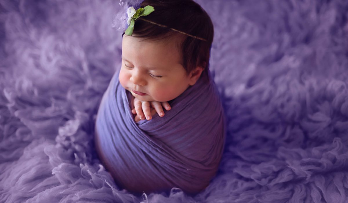 baby girl in purple, Lifetime Stories Photography, Victoria Burcusel, Hand made props, natural light photography, beautiful baby girl, newborn baby girl, newborn photographer, 6 weeks baby girl, potato pose, cute newborn, Brisbane babies
